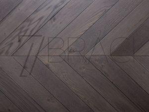 Black Olive Smoke stain Oak Chevron Solid Parquet