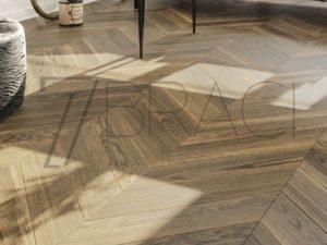 Oak Stone smoke stained chevron flooring