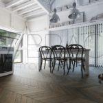 Vintage Antique Smoked oak chevron flooring