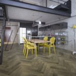 City Docks Dark grey Oak herringbone parquet