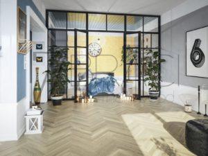 Modern Light Lune White oak herringbone flooring